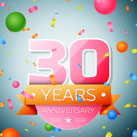 celebration: Thirty years anniversary celebration background. Anniversary ribbon