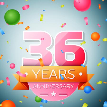 number 36: Thirty six years anniversary celebration background. Anniversary ribbon