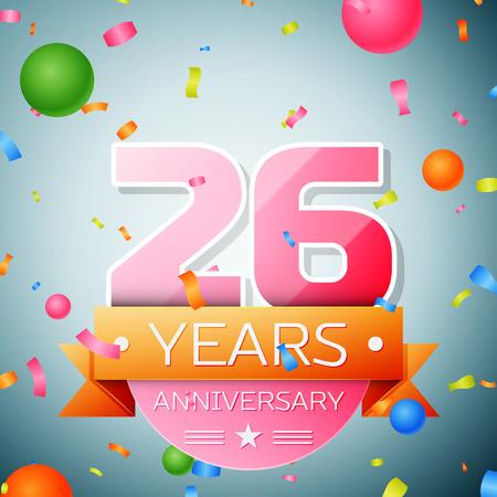 Twenty six years anniversary celebration background. Anniversary ribbon Vettoriali