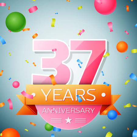 Thirty seven years anniversary celebration background. Anniversary ribbon