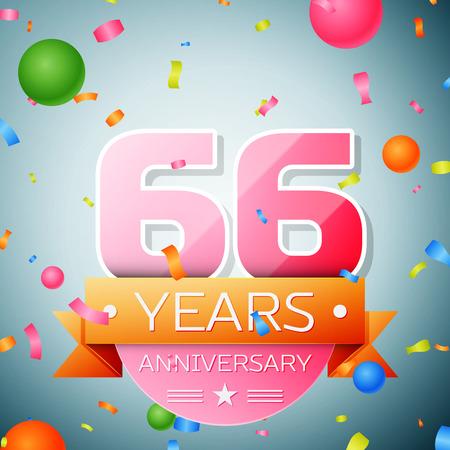 sixty six: Sixty six years anniversary celebration background. Anniversary ribbon
