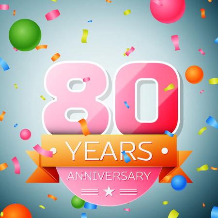 80th: Eighty years anniversary celebration background. Anniversary ribbon