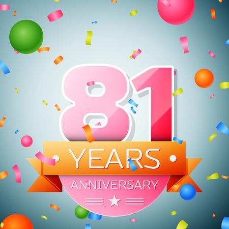 81: Eighty one years anniversary celebration background. Anniversary ribbon