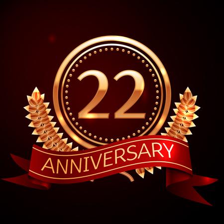 Tweeëntwintig jaar jubileum met gouden ring en lint. Stockfoto - 66529135