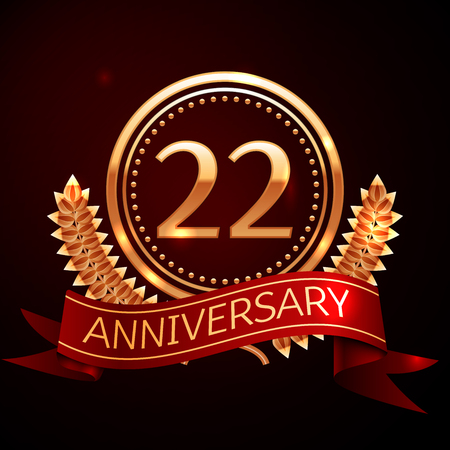 Twenty two years anniversary celebration with golden ring and ribbon.