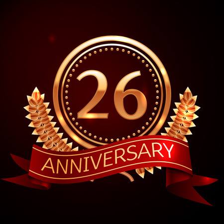 twenty six: Twenty six years anniversary celebration with golden ring and ribbon.