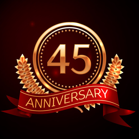 45th: Forty five years anniversary celebration with golden ring and ribbon.
