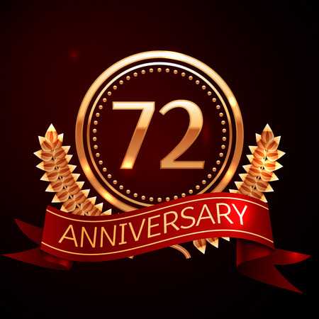seventy two: years anniversary celebration with golden ring and ribbon. Illustration