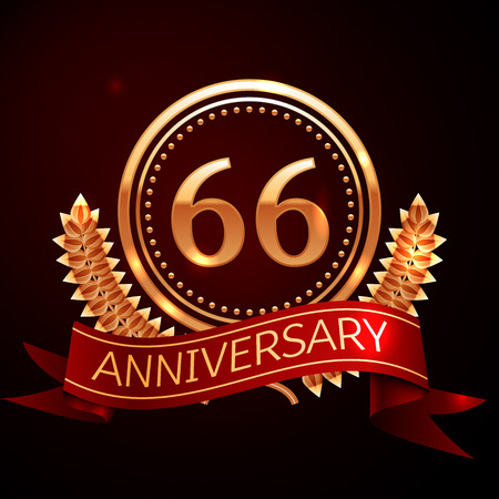 sixty six: Sixty six years anniversary celebration with golden ring and ribbon. Illustration