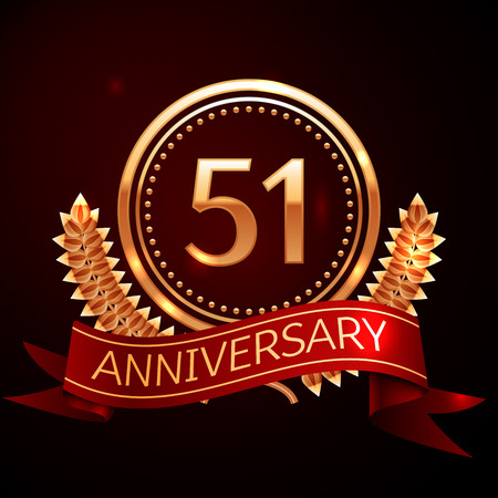 51: Fifty one years anniversary celebration with golden ring and ribbon. Illustration