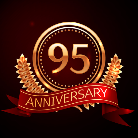 95: Ninety five years anniversary celebration with golden ring and ribbon. Illustration
