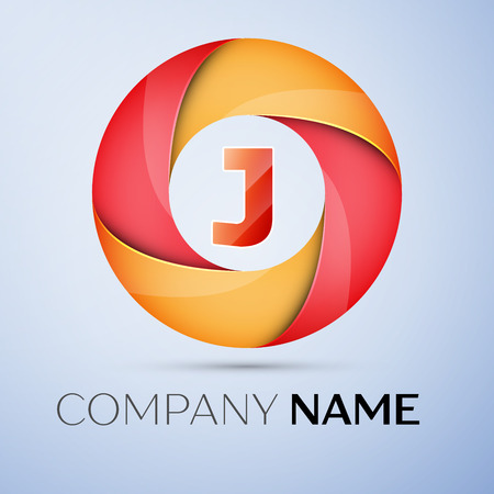 J letter colorful logo in the circle. Vector template for your design