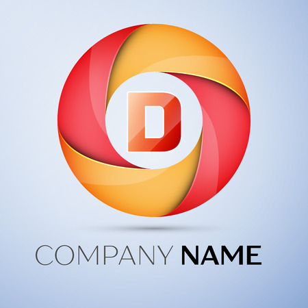 D letter colorful logo in the circle. Vector template for your design