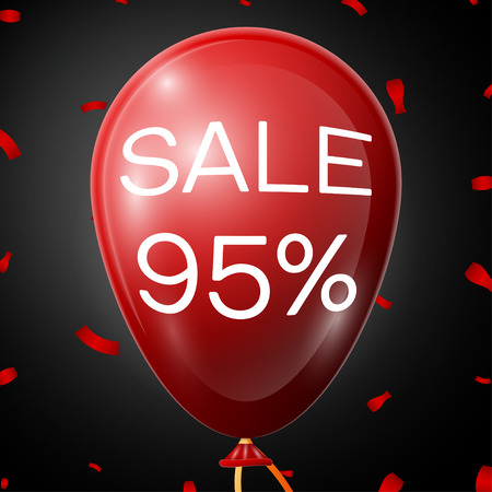 95: Red Baloon with 95 percent discounts over black background. Vector illustration