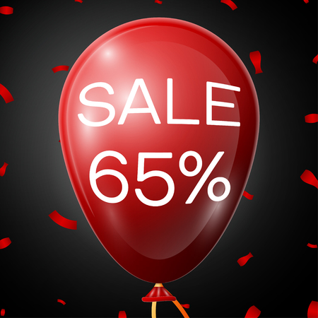 65: Red Baloon with 65 percent discounts over black background. Vector illustration