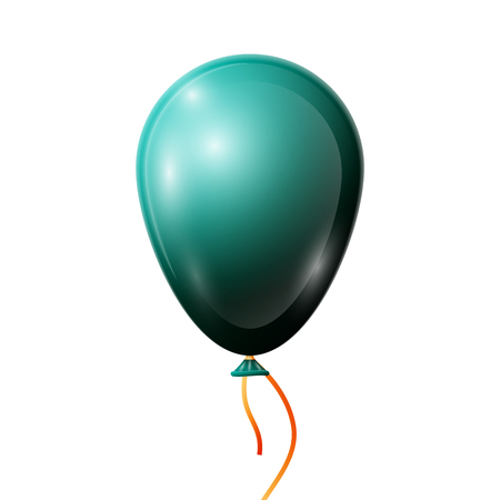 Realistic jade balloon with ribbon isolated on white background. illustration of shiny colorful glossy balloon