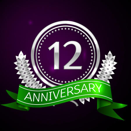 twelve: Twelve years anniversary celebration with silver ring and ribbon. Illustration
