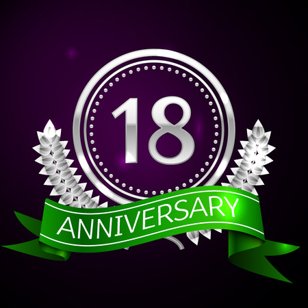 happy 18th birthday: Eighteen years anniversary celebration with silver ring and ribbon. Illustration