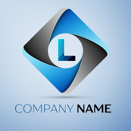 Letter L vector logo symbol in the colorful rhombus. Vector template for your design