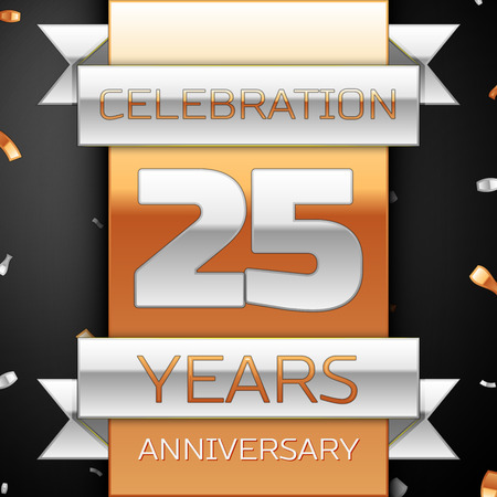 25th: Twenty five years anniversary celebration golden and silver background. Anniversary ribbon