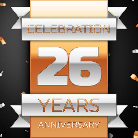 twenty six: Twenty six years anniversary celebration golden and silver background. Anniversary ribbon Illustration