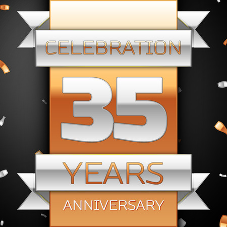 thirty five: Thirty five years anniversary celebration golden and silver background. Anniversary ribbon