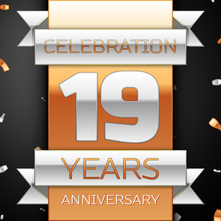 nineteen: Nineteen years anniversary celebration golden and silver background. Anniversary ribbon