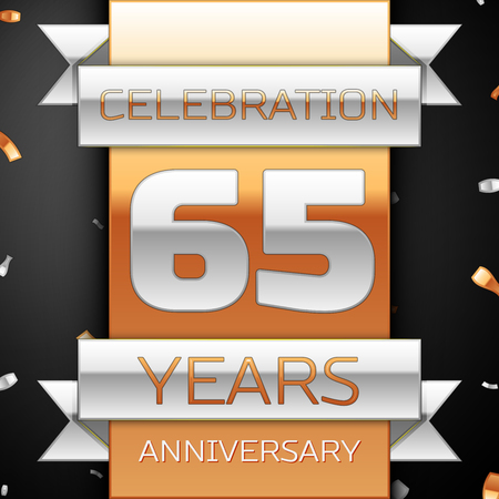 Sixty five years anniversary celebration golden and silver background. Anniversary ribbon Illustration