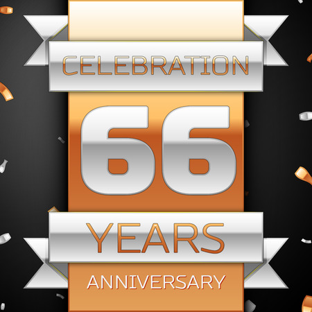 sixty six: Sixty six years anniversary celebration golden and silver background. Anniversary ribbon