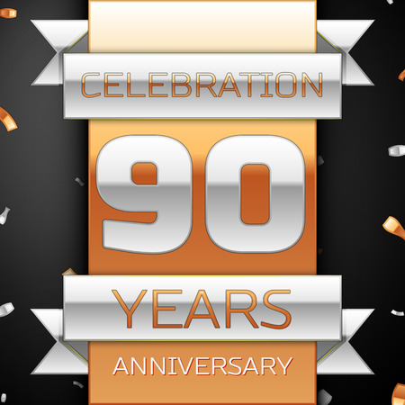 90th: Ninety years anniversary celebration golden and silver background. Anniversary ribbon Illustration