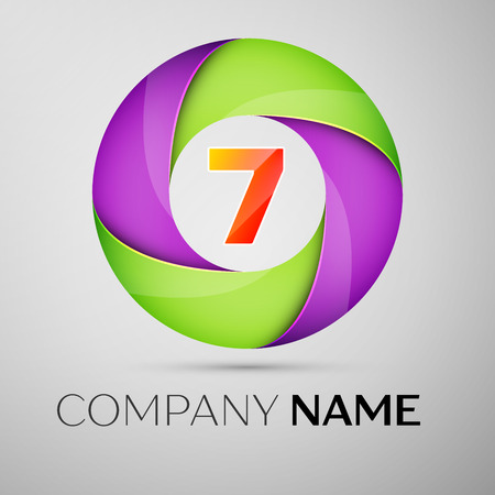 Number seven vector logo symbol in the colorful circle. Vector template for your design Illustration