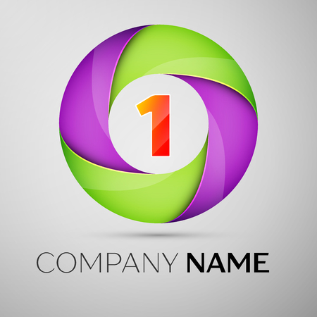 Number one vector logo symbol in the colorful circle. Vector template for your design