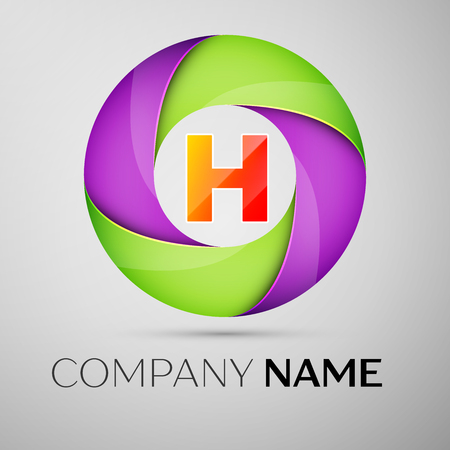 Letter H vector logo symbol in the colorful circle. Vector template for your design Illustration