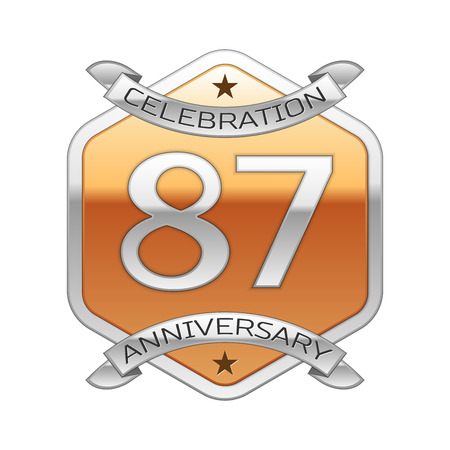 Eighty seven years anniversary celebration silver logo with silver ribbon and golden hexagonal ornament on white background. Illustration