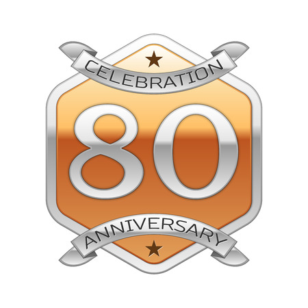 80th: Eighty years anniversary celebration silver logo with silver ribbon and golden hexagonal ornament on white background.