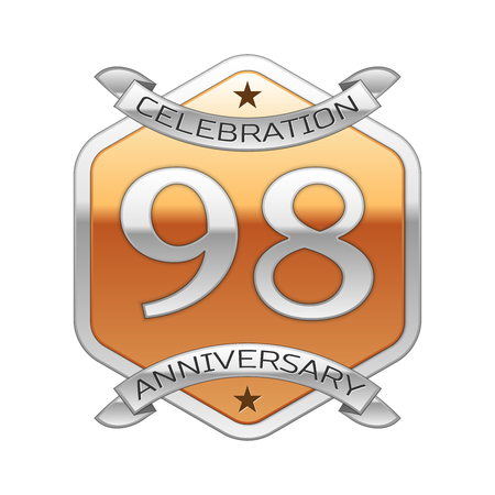 Ninety eight years anniversary celebration silver logo with silver ribbon and golden hexagonal ornament on white background. Illustration