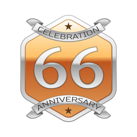 sixty six: Sixty six years anniversary celebration silver logo with silver ribbon and golden hexagonal ornament on white background.