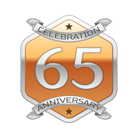 Sixty five years anniversary celebration silver logo with silver ribbon and golden hexagonal ornament on white background.