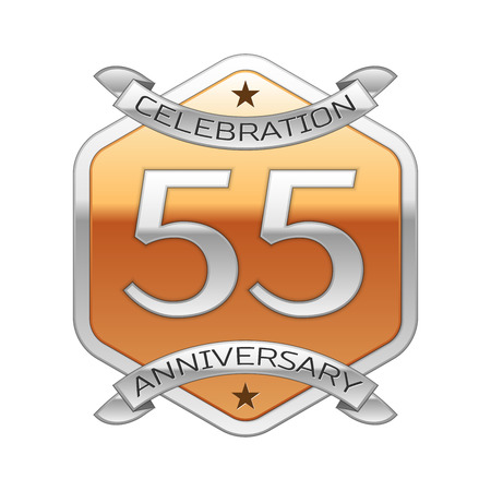 Fifty five years anniversary celebration silver logo with silver ribbon and golden hexagonal ornament on white background. Illustration