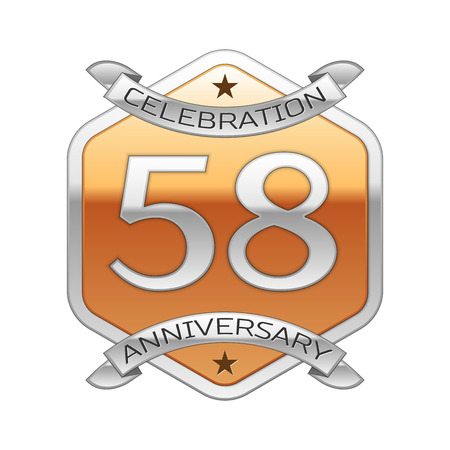 Fifty eight years anniversary celebration silver logo with silver ribbon and golden hexagonal ornament on white background.