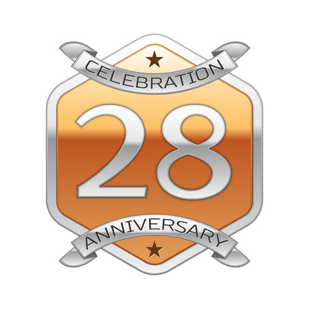 Twenty eight years anniversary celebration silver logo with silver ribbon and golden hexagonal ornament on white background.