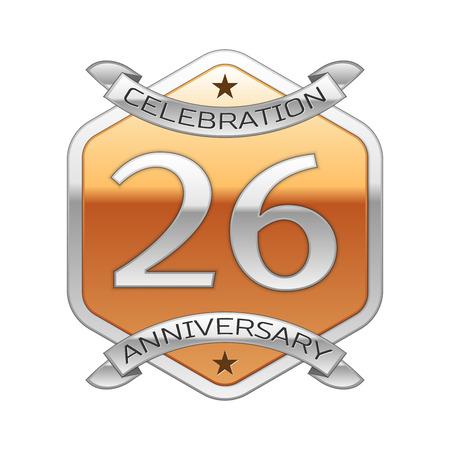 twenty six: Twenty six years anniversary celebration silver logo with silver ribbon and golden hexagonal ornament on white background.