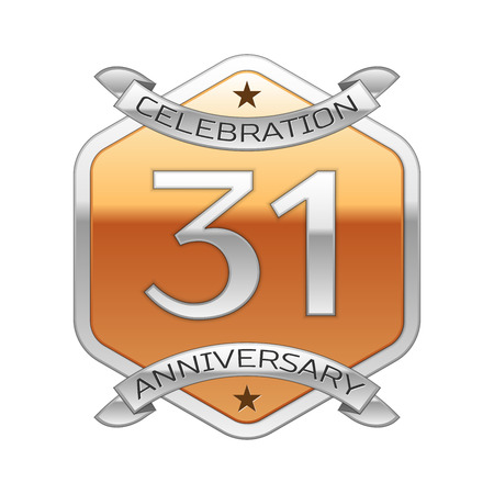 31th: Thirty one years anniversary celebration silver logo with silver ribbon and golden hexagonal ornament on white background.