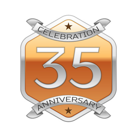 Thirty five years anniversary celebration silver logo with silver ribbon and golden hexagonal ornament on white background.