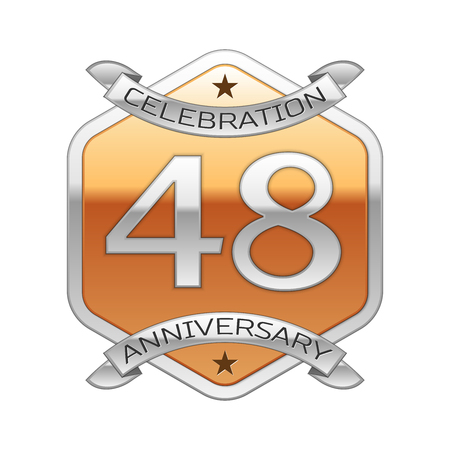 Forty eight years anniversary celebration silver logo with silver ribbon and golden hexagonal ornament on white background. Illustration