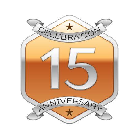 fifteen: Fifteen years anniversary celebration silver logo with silver ribbon and golden hexagonal ornament on white background. Illustration