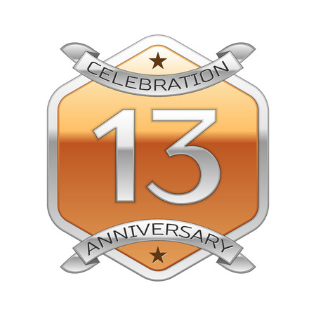 thirteen: Thirteen years anniversary celebration silver logo with silver ribbon and golden hexagonal ornament on white background.