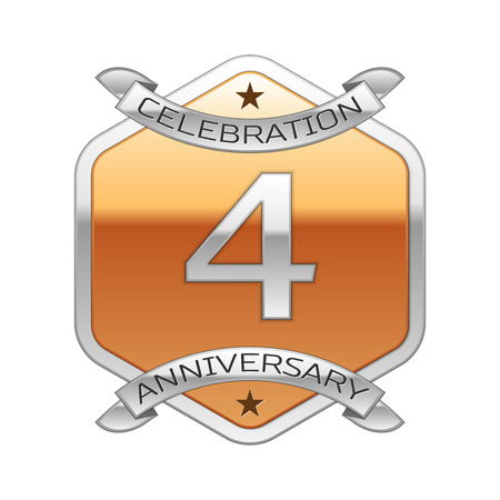 Four years anniversary celebration silver logo with silver ribbon and golden hexagonal ornament on white background.