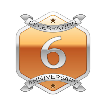 remembered: Six years anniversary celebration silver logo with silver ribbon and golden hexagonal ornament on white background.