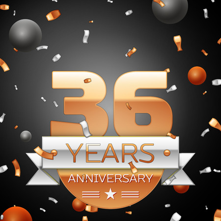 36: Thirty six years anniversary celebration background with silver ribbon confetti and circles. Anniversary ribbon. Vector illustration. Illustration